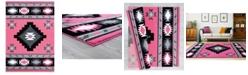 """Asbury Looms Bristol Caliente 2050 10486 28C Pink 2'7"""" x 7'4"""" Runner Rug"""