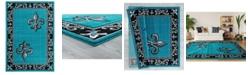 """Asbury Looms Bristol Lilium 2050 11269 35C Turquoise 2'7"""" x 4'2"""" Area Rug"""