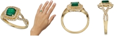 Macy's Emerald (1 ct. t.w.) & Diamond (1/3 ct. t.w.) Statement Ring in 14k Gold