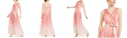 Teeze Me Juniors' Ruffled Glitter-Mesh Gown