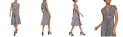 Michael Kors Printed V-Neck Fit & Flare Dress