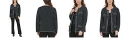 Calvin Klein Frayed-Trim Tweed Jacket