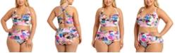 California Waves Trendy Plus Size Underwire Bikini Top & High-Waist Bikini Bottoms, Created For Macy's