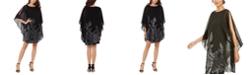 XSCAPE Embellished Cape-Overlay Dress