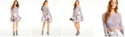 City Studios Juniors' 2-Pc. Lace & Floral-Print Dress