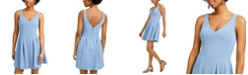 Teeze Me Juniors' Double V-Neck Fit & Flare Dress