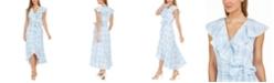 Calvin Klein Ruffled Plaid High-Low Surplice Dress