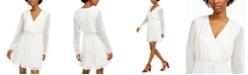 City Studios Juniors' Clip-Dot Tie-Waist Dress