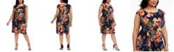 Connected Plus Size Tropical-Print Side-Ruched Sheath Dress