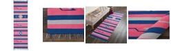 """Long Street Looms Macah MAC01 Pink, Blue 2'3"""" x 7'6"""" Runner Rug"""