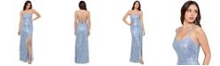 XSCAPE Tie-Back Sequin-Fringe Gown