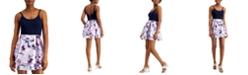 Speechless Juniors' Solid & Floral Satin Skater Dress
