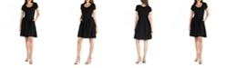 24seven Comfort Apparel Knee Length Cap Sleeve Dress with Pocket Detail