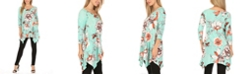 White Mark Women's Floral Tunic Top