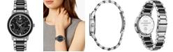 Citizen Citizen Eco-Drive Women's Ursula Diamond-Accent Stainless Steel & Black Ceramic Bracelet Watch 36mm