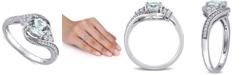 Macy's Aquamarine (3/4 ct. t.w.), White Topaz (1/4 ct. t.w.) & Diamond (1/10 ct. t.w.) Swirl Ring in 10k White Gold