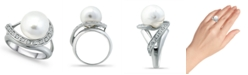 Macy's Imitation Pearl and Pave Cubic Zirconia Swirl Wrap Ring in Silver Plate