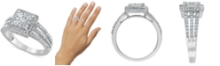 Macy's Diamond (1 ct. t.w.) Square Halo Cluster Engagement Ring in 14k White Gold