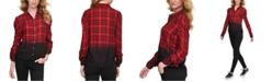 DKNY Jeans Womens OmbréPlaid Shirt