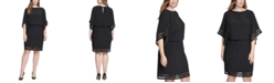 Jessica Howard Plus Size Illusion-Trim Blouson Dress