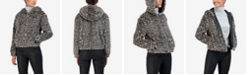 Sebby Junior's Reversible Leopard Faux Fur Hooded Bomber