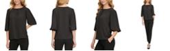 DKNY Pleated 3/4-Sleeve Top