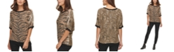 DKNY Mixed-Print Shimmering Sweater