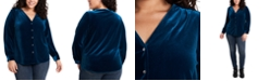 1.STATE Trendy Plus Size Stretch Velvet Top