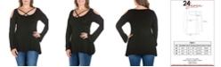 24seven Comfort Apparel Women's Plus Size Criss Cross Cold Shoulder Top