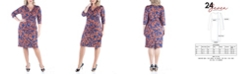 24seven Comfort Apparel Women's Plus Size Floral Print Wrap Dress
