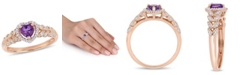 Macy's Amethyst and Diamond Halo Heart Ring