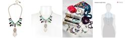 Betsey Johnson Gold-Tone Stone, Imitation Pearl & Pavé Hamsa Hand Statement Necklace