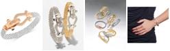 Macy's Diamond Dew Drop Mesh Horseshoe Bracelet (5/8 ct. t.w.) in Sterling Silver and 14k Rose Gold-Plate