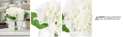 "Trademark Global Pure Garden White Hydrangea Floral Arrangement with Vase, 7.5"" x 5.25"" x 5.25"""