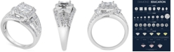 Macy's Diamond Princess Overlap Engagement Ring (1-1/2 ct. t.w.) in 14k White Gold