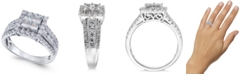 Macy's Diamond Princess Halo Ring (1-1/2 ct. t.w.) in 14k White Gold