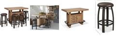 Furniture Brewing Collection, 5-Pc. Furniture Set (Storage Bar Table & 4 Whiskey Barrel Bar Stools)