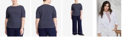 Lauren Ralph Lauren Plus Size Stretch Boatneck T-Shirt