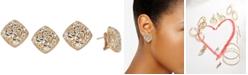 Macy's Two-Tone Flower Filigree Stud Earrings in 14k Gold & White Gold