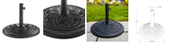 Walker Edison Circle Weave Round Umbrella Base - Black