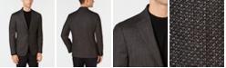 DKNY Men's Slim-Fit Chocolate Brown Diamond Pattern Wool Sport Coat