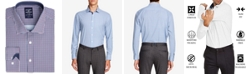 Society of Threads Men's Slim-Fit Performance Stretch Small Check Dress Shirt