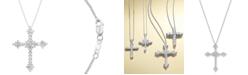 Macy's Diamond Flower Cross Pendant Necklace in 14k White Gold (1-1/2 ct. t.w.)