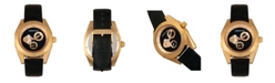 Morphic M46 Series, Gold Case, Black Leather Band Men's Watch w/Date, 44mm