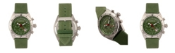 Morphic M53 Series, Silver Case, Chronograph Fiber Weaved Olive Leather Band Watch w/Date, 45mm