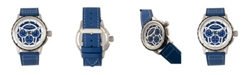 Morphic M61 Series, Silver Case, Blue Leather Chronograph Band Watch w/Date, 45mm