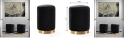 TOV Furniture Opal Black Velvet Ottoman -Gold Base