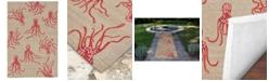 Liora Manne' Capri 1677 Octopus Orange 2' x 8' Indoor/Outdoor Runner Area Rug