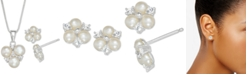Macy's Cultured Freshwater Pearl and Cubic Zirconia Pendant Necklace and Stud Earrings Set in Sterling Silver