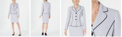 Le Suit Three-Button Dot-Print Skirt Suit
